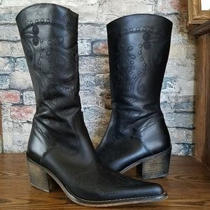 NEW ALDO Black Leather Embroidered Boots Size 9